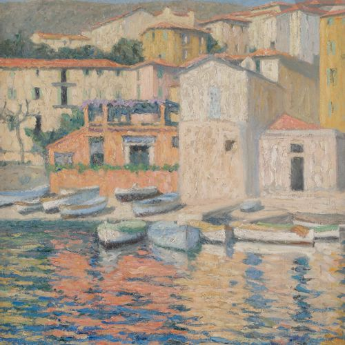 Raymond THIBÉSART (1874 1968) Villefranche, the port, circa 1920 Oil on canvas. …
