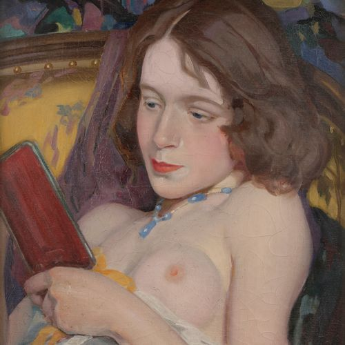 Jacques CANCARET (1876 1941) Young naked woman with mirror Oil on canvas. Signed…