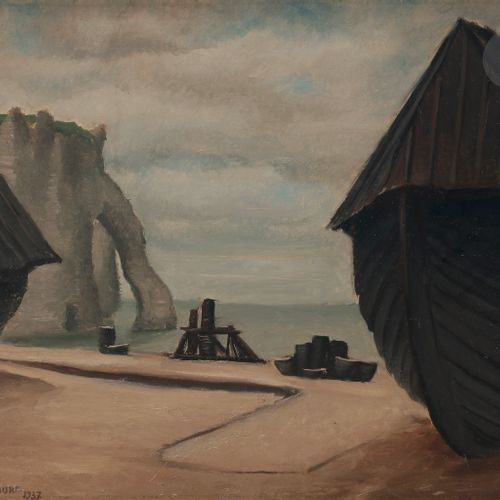 André HAMBOURG (1909 1999 )À Étretat 1937, 1937Oil on canvas. Signed and dated l…