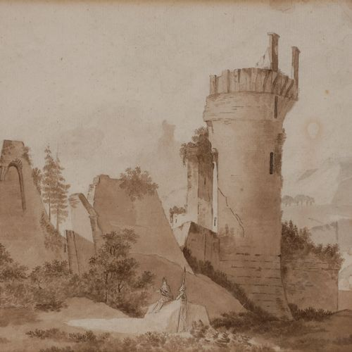 Attributed to Thomas Charles NAUDET (1778 1810) Landscape with a ruined castleFe…