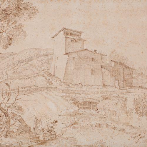 Attributed to Marco RICCI (Belluno 1676 Venice 1730) Villa in the fieldsPen and …