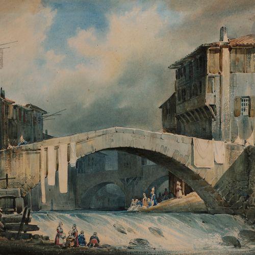 Joseph Vézien DESOMBRAGES (1803 1873 )Annonay, washerwomen at the Algelas Bridge…