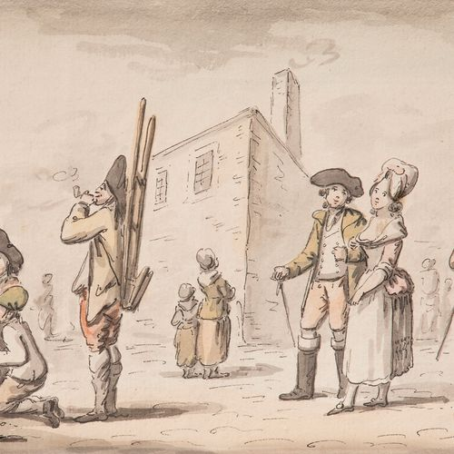 Attributed to Etienne BÉRICOURT (18th century )Street sceneWatercolour , pen and…