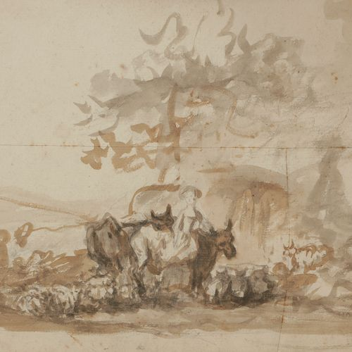 In the taste of FRAGONARD (Grasse 1732 Paris 1806) Paysanne et son troupeauLavis…