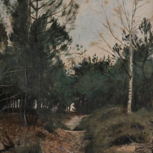 Eugène LACHEURIE (1831 1907 )Road in the undergrowthAquarelle gouache. Signed lo…