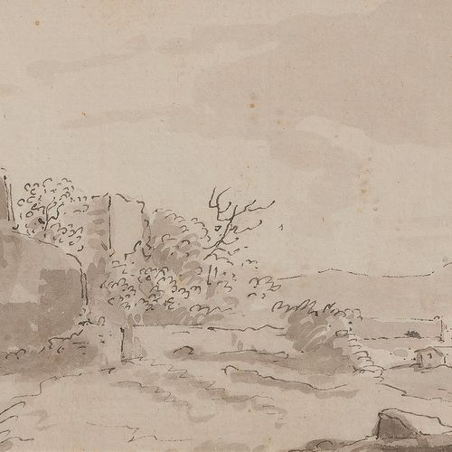 Attributed to Gabriel BOUQUIER (1739 1810 )Animated landscapeFeather and grey in…