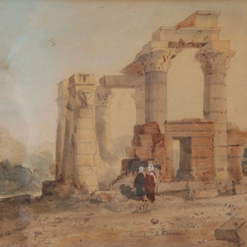 French school of the XIXth centuryThe Temple of Kôm Ombo, 1854Watercolour on pen…