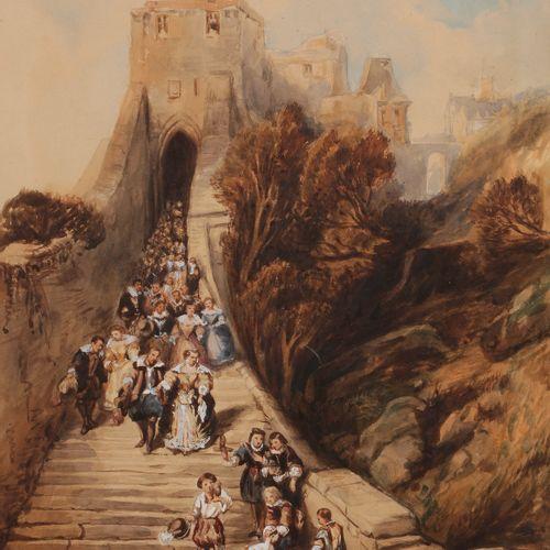 Camille ROQUEPLAN (Mallemort 1800 Paris 1855) Departure for falcon huntingAquare…