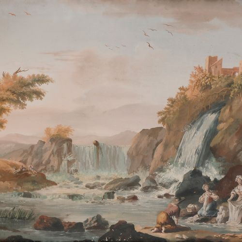 French school of the 18th centuryCascade landscape with washerwomen, 1785Gouache…