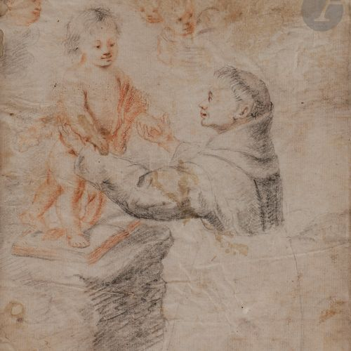 Follower of MURILLO (1618 1682 )Saint Anthony of Padua adoring ChristBlack and b…