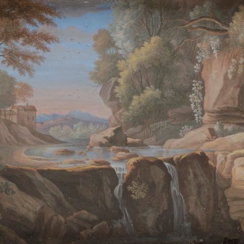 18th century Italian schoolDrawing in a landscape with waterfallsGouache on vell…