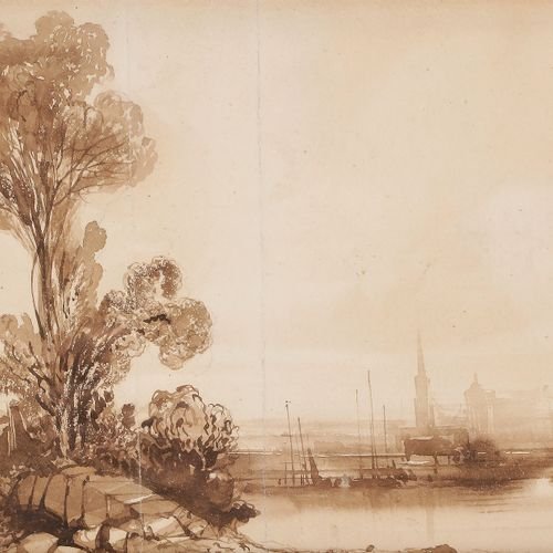 Attributed to Camille ROQUEPLAN (Mallemort 1800 Paris 1855) Landscape with in th…
