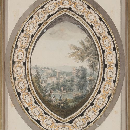 French school circa 1800Moving landscapeOval shaped watercolour. On a drawn mont…