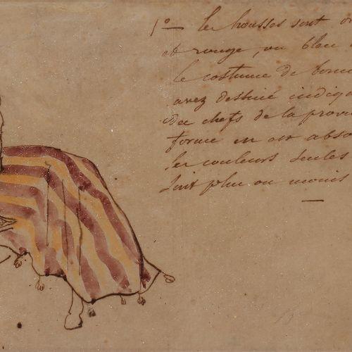 Entourage of Eugène DELACROIXArabic rider studyWatercolour , pen and brown ink o…