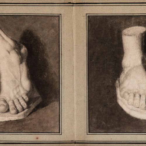 19th century French schoolTwo foot studies from castsBlack stone and brown wash.…