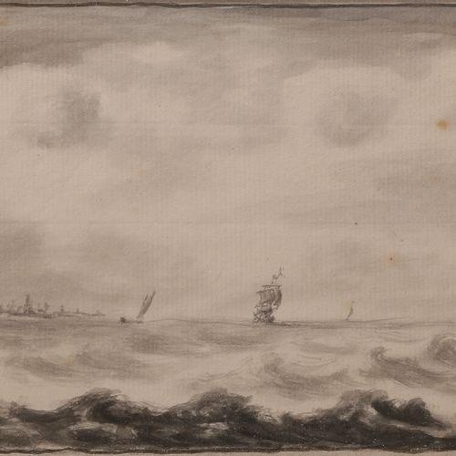 18th century Dutch schoolMarineFeather , grey ink, grey wash. (Two spots) 12.5 x…
