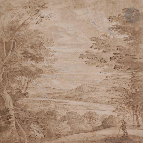 17th century northern schoolNorthern schoolBuilded river landscape Brown ink and…
