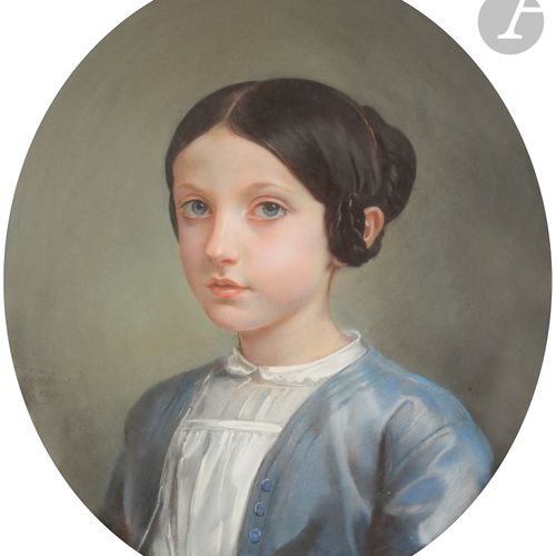 Léon RIESENER (Paris 1808 Paris 1878 )Portrait of a young girl, bust, facing rig…
