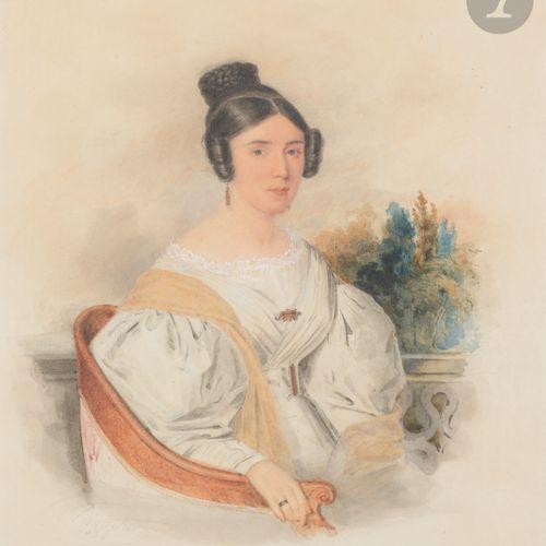 Antoine Claude PANNETIER (1772 Paris, 1859) Portrait of a woman in a white dress…