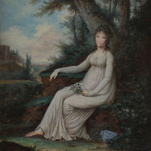 E.T. TOURCATYPaire of portraits in a landscape, circa 1800Painted watercoloursOn…