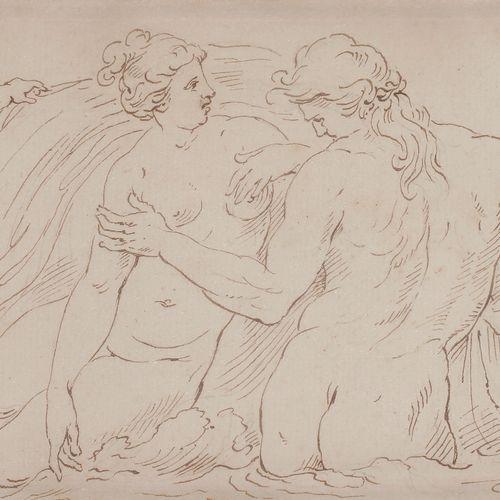 P. Van REYSSCHOTT (1738 1795 )Femme et Dieu FleuvePlume , encre brune sur traits…