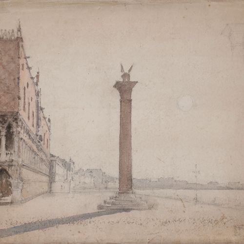 Amédée ROSIER (1831 1898 )Piazzetta in VeniceWatercolour and black pencilStamp o…