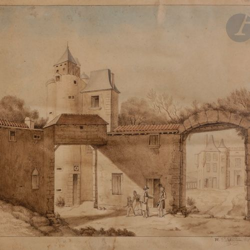 Pierre Maximilien DELAFONTAINE (1774 1860) Presumed view of the courtyard of the…