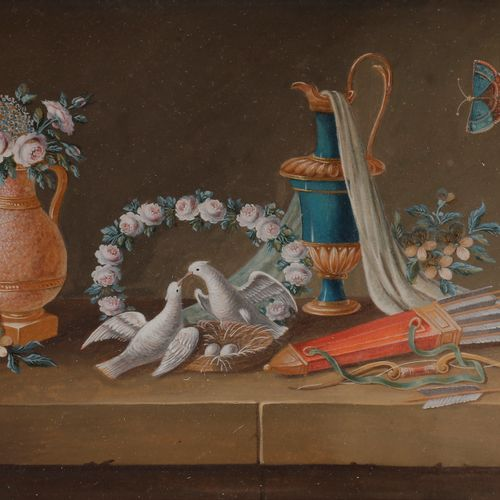 LELONG (French school of the early 19th century )Still life with dovesGouache . …