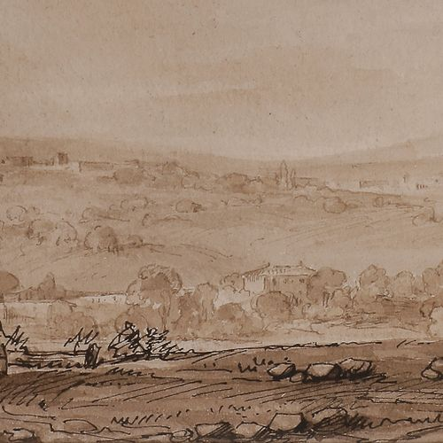 French school of the 18th centuryMoving landscapeFeather , brown ink, brown wash…