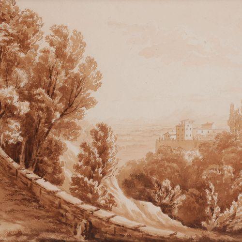 French school of the 19th centuryLandscape of ItalyBrown glaze on black pencil l…