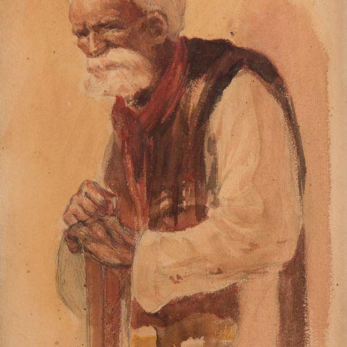A.GALLAND (? )Oriental portrait with cane, 1909Watercolour on black pencil strok…
