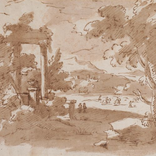 Italian school of the 18th centuryLandscapes with ruinsFeathers , brown ink and …
