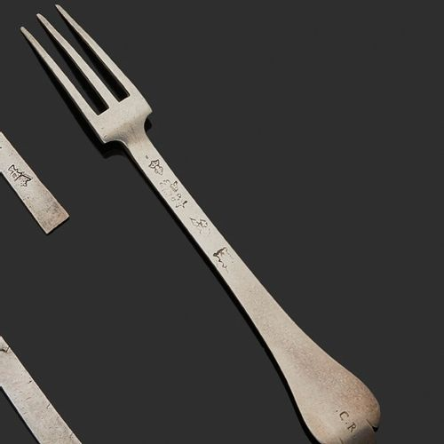 PARIS 1676 A fork in forged silver Master silversmith: Antoine BERTHE and on the…