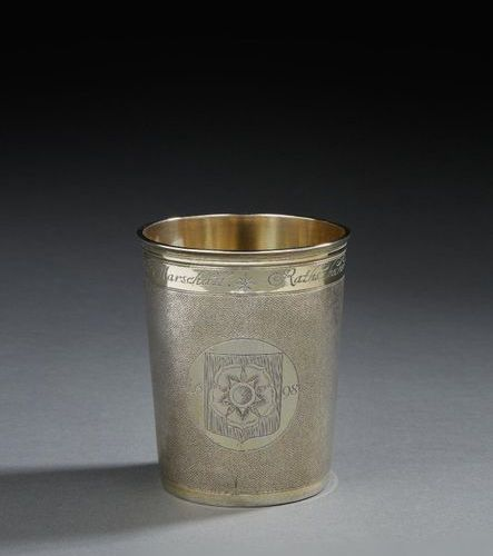 STRASBOURG AROUND 1698 A large magistrate's beaker in Vermeil Master silversmith…