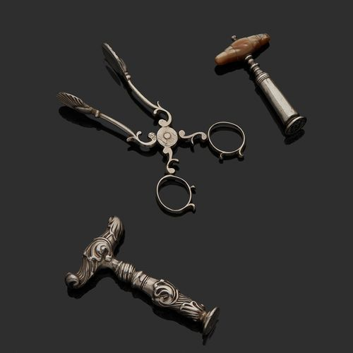 Attributed to THE NETHERLANDS 18th CENTURY A corkscrew in silver
