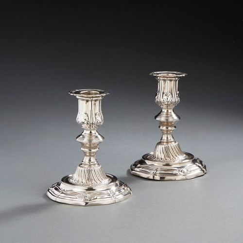 PARIS 1754 1755 A pair of toilet candlesticks in silver Master silversmith: Anto…