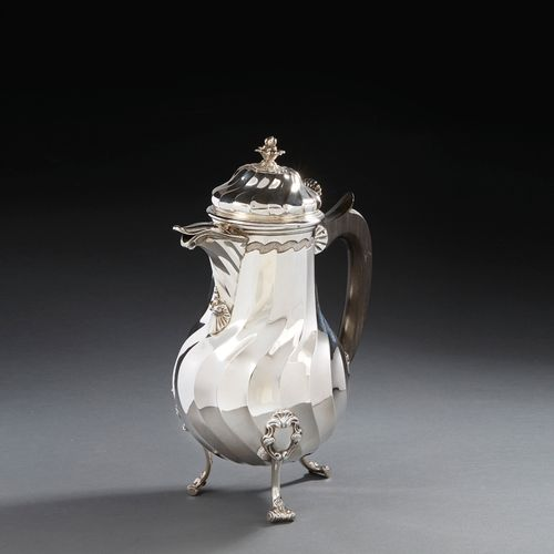 VALENCIENNES 1777 A chocolate pot on three feet in silver Master silversmith: Je…