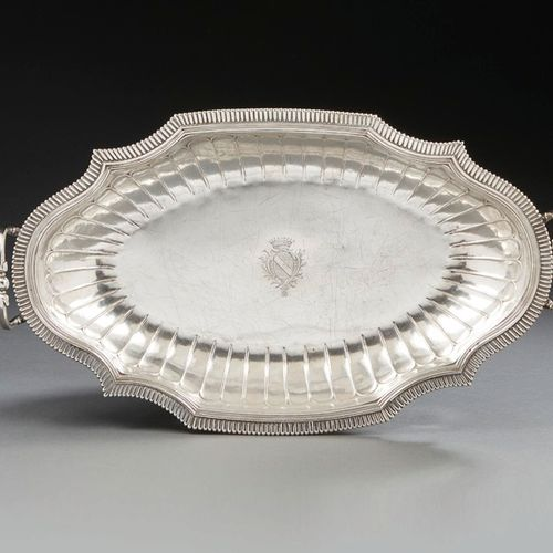 CALAIS 1738 1748 A large oval shaped dish in silver Master silversmith: Antoine …