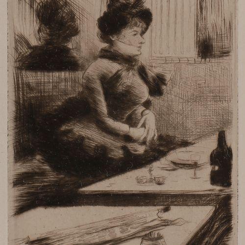Norbert GOENEUTTE (1854 1894)  Au café  Pointe sèche.  145 x 105 mm.  Épreuve su…