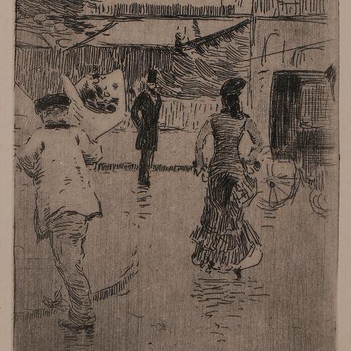 Norbert GOENEUTTE (1854 1894)  Jour de fête, temps de pluie, 1875  Eau forte.  1…
