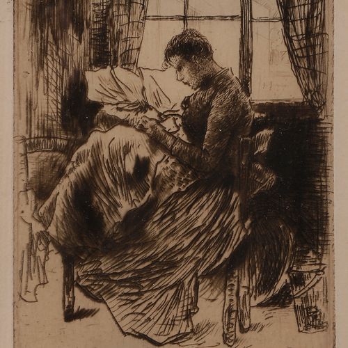 Norbert GOENEUTTE (1854 1894)  Nathalie Goeneutte cousant  Eau forte, pointe sèc…
