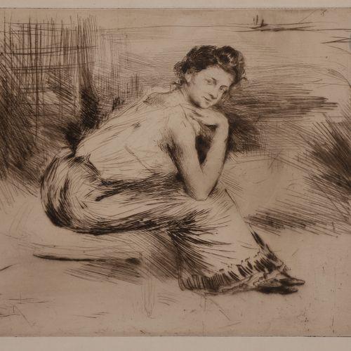 Norbert GOENEUTTE (1854 1894)  Au coin du feu (femme assise bras nus près d'une …