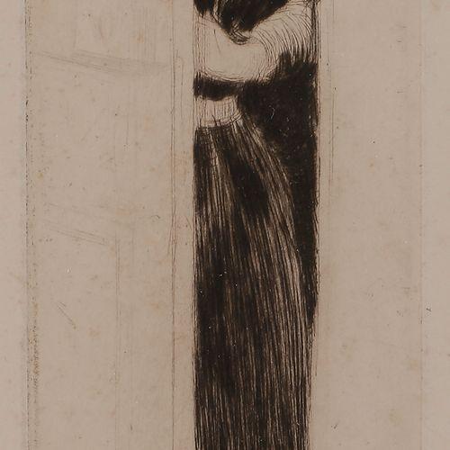 Norbert GOENEUTTE (1854 1894)  L'Indiscrète (jeune femme près d'une porte), vers…