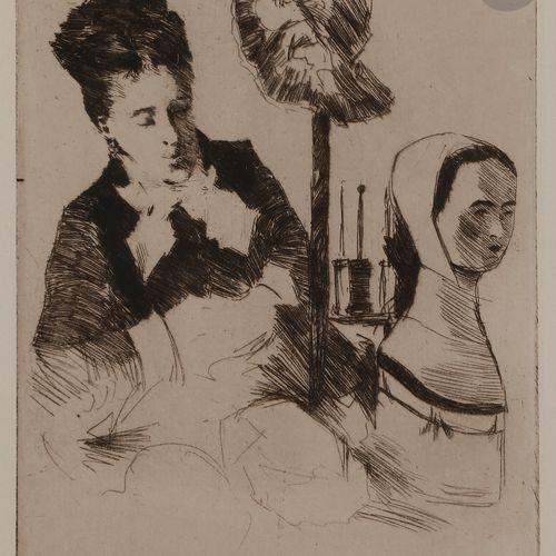 Norbert GOENEUTTE (1854 1894)  La Modiste, après 1888  Eau forte.  205 x 165 mm.…