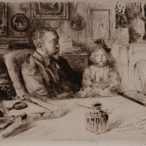 Norbert GOENEUTTE (1854 1894)  Alidor Delzant et sa fille, 1893  Pointe sèche.  …