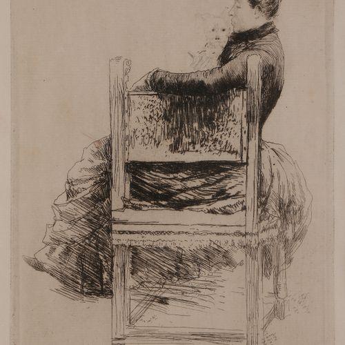 Norbert GOENEUTTE (1854 1894)  La Femme au chien, 1889  Eau forte.  325 x 220 mm…