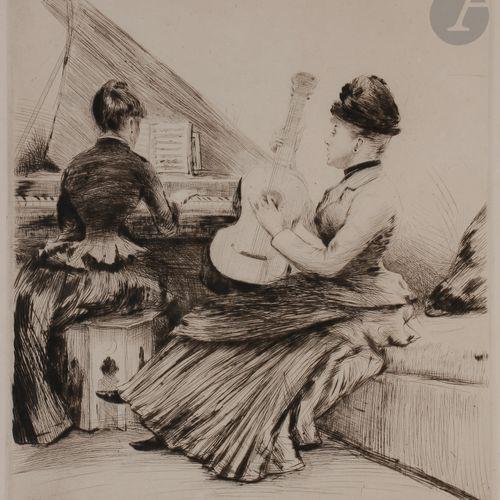 Norbert GOENEUTTE (1854 1894)  Le Duo (musique de chambre), vers 1885  Pointe sè…