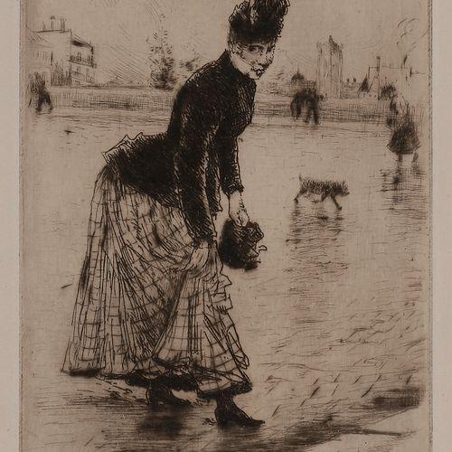 Norbert GOENEUTTE (1854 1894)  Traversant le pont (le pont de la Tournelle), ava…