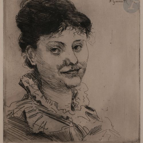 Norbert GOENEUTTE (1854 1894)  Tête de femme de face, avant 1888  Eau forte.  23…