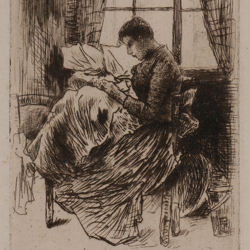 Norbert GOENEUTTE (1854 1894)  Nathalie Goeneutte cousant, avant 1888  Eau forte…